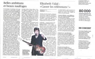 Elizabeth VIdal dans la presse